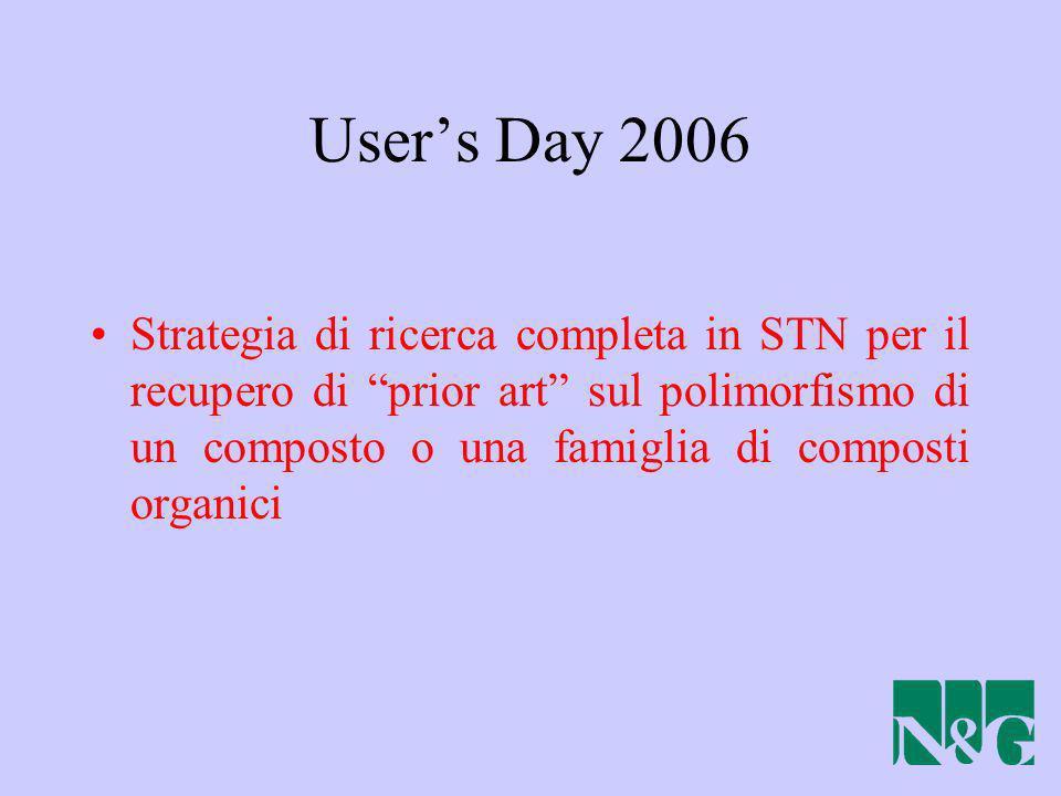 Users Day 2006 Strategia di ricerca completa in STN per il recupero di prior art sul polimorfismo di un composto o una famiglia di composti organici