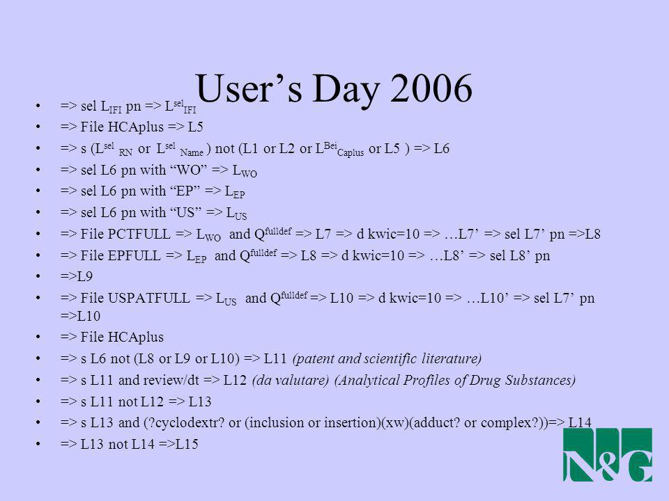 Users Day 2006 => sel L IFI pn => L sel IFI => File HCAplus => L5 => s (L sel RN or L sel Name ) not (L1 or L2 or L Bei Caplus or L5 ) => L6 => sel L6