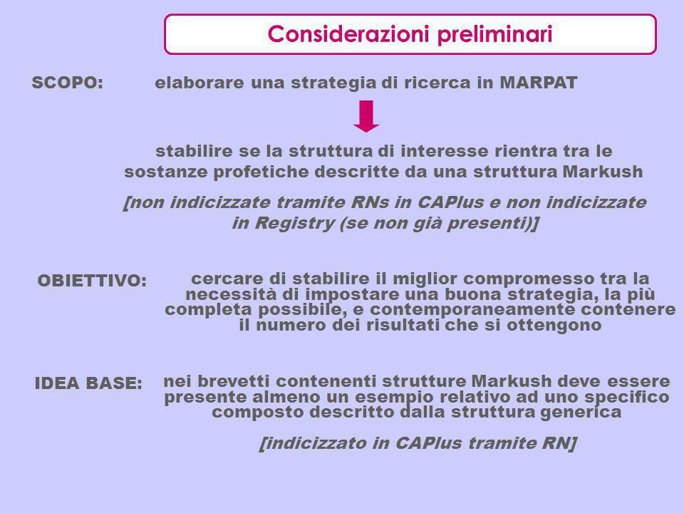 Considerazioni preliminari SCOPO: elaborare una strategia di ricerca in MARPAT stabilire se la struttura di interesse rientra tra le sostanze profetic