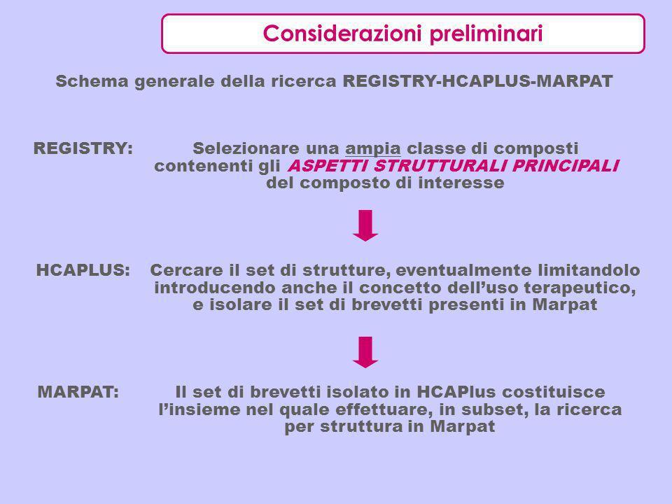 Considerazioni preliminari Schema generale della ricerca REGISTRY-HCAPLUS-MARPAT Selezionare una ampia classe di composti contenenti gli ASPETTI STRUT