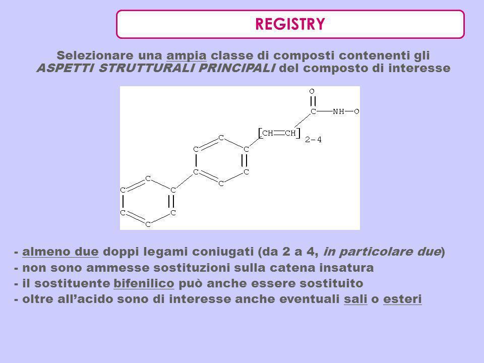 REGISTRY Selezionare una ampia classe di composti contenenti gli ASPETTI STRUTTURALI PRINCIPALI del composto di interesse - almeno due doppi legami co