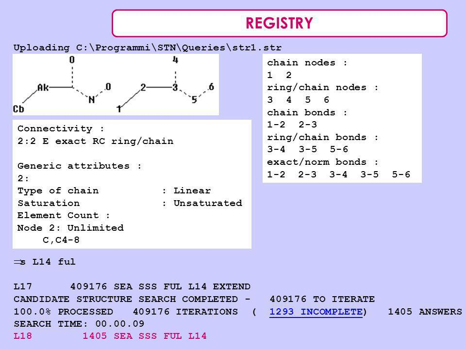 REGISTRY Uploading C:\Programmi\STN\Queries\str1.str chain nodes : 1 2 ring/chain nodes : 3 4 5 6 chain bonds : 1-2 2-3 ring/chain bonds : 3-4 3-5 5-6