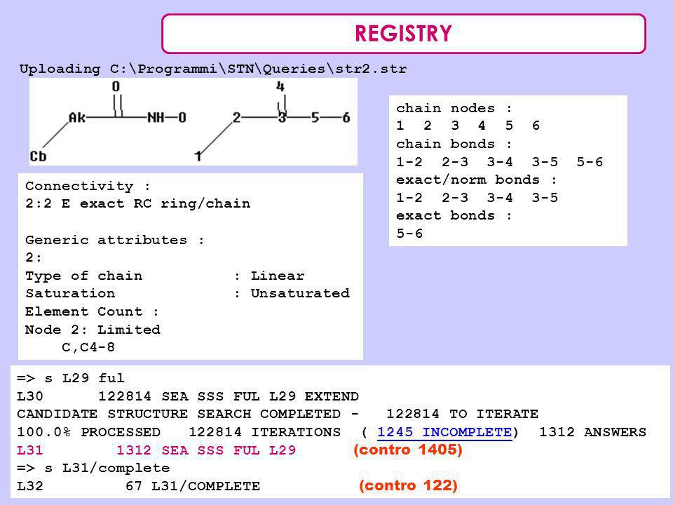 REGISTRY Uploading C:\Programmi\STN\Queries\str2.str chain nodes : 1 2 3 4 5 6 chain bonds : 1-2 2-3 3-4 3-5 5-6 exact/norm bonds : 1-2 2-3 3-4 3-5 ex