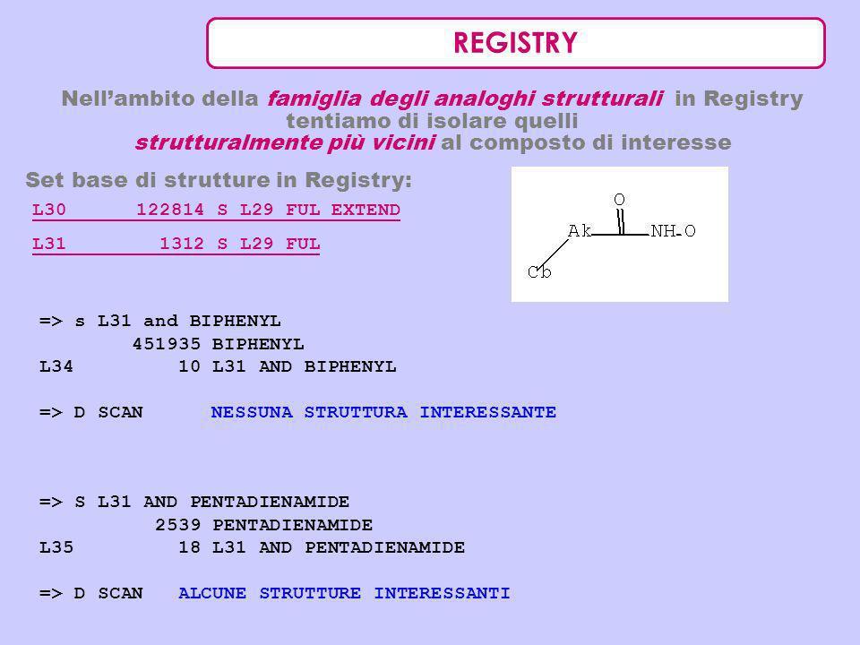 REGISTRY Nellambito della famiglia degli analoghi strutturali in Registry tentiamo di isolare quelli strutturalmente più vicini al composto di interes