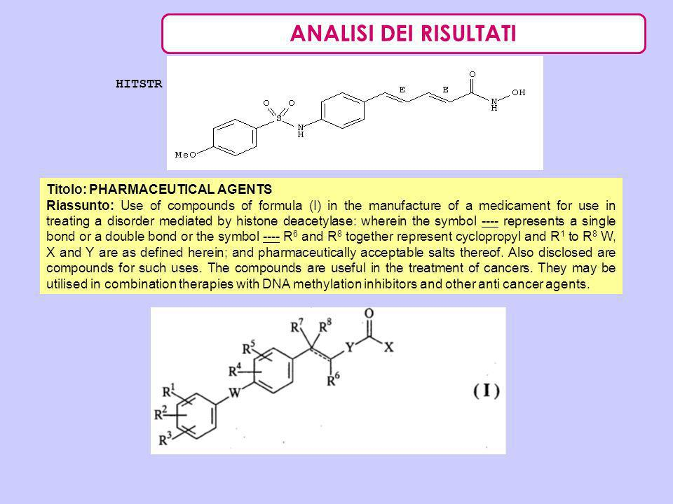 ANALISI DEI RISULTATI HITSTR Titolo: PHARMACEUTICAL AGENTS Riassunto: Use of compounds of formula (I) in the manufacture of a medicament for use in tr