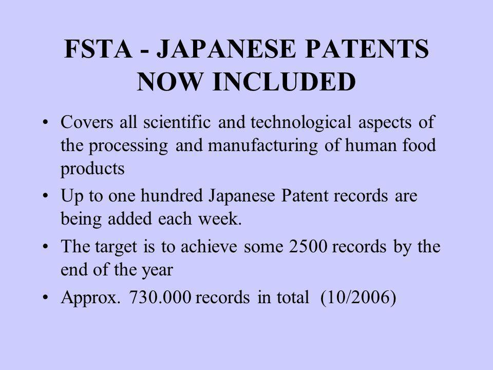 FSTA - JAPANESE PATENTS NOW INCLUDED Covers all scientific and technological aspects of the processing and manufacturing of human food products Up to