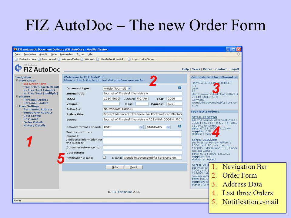 FIZ AutoDoc – The new Order Form 1.Navigation Bar 2.Order Form 3.Address Data 4.Last three Orders 5.Notification e-mail 2 4 3 5 1