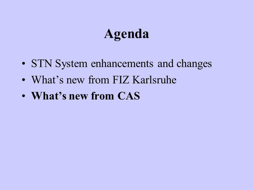 Agenda STN System enhancements and changes Whats new from FIZ Karlsruhe Whats new from CAS