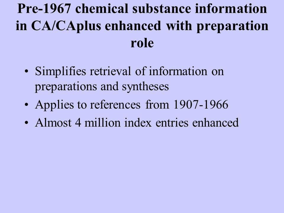 Pre-1967 chemical substance information in CA/CAplus enhanced with preparation role Simplifies retrieval of information on preparations and syntheses