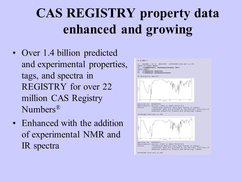 CAS REGISTRY property data enhanced and growing Over 1.4 billion predicted and experimental properties, tags, and spectra in REGISTRY for over 22 mill