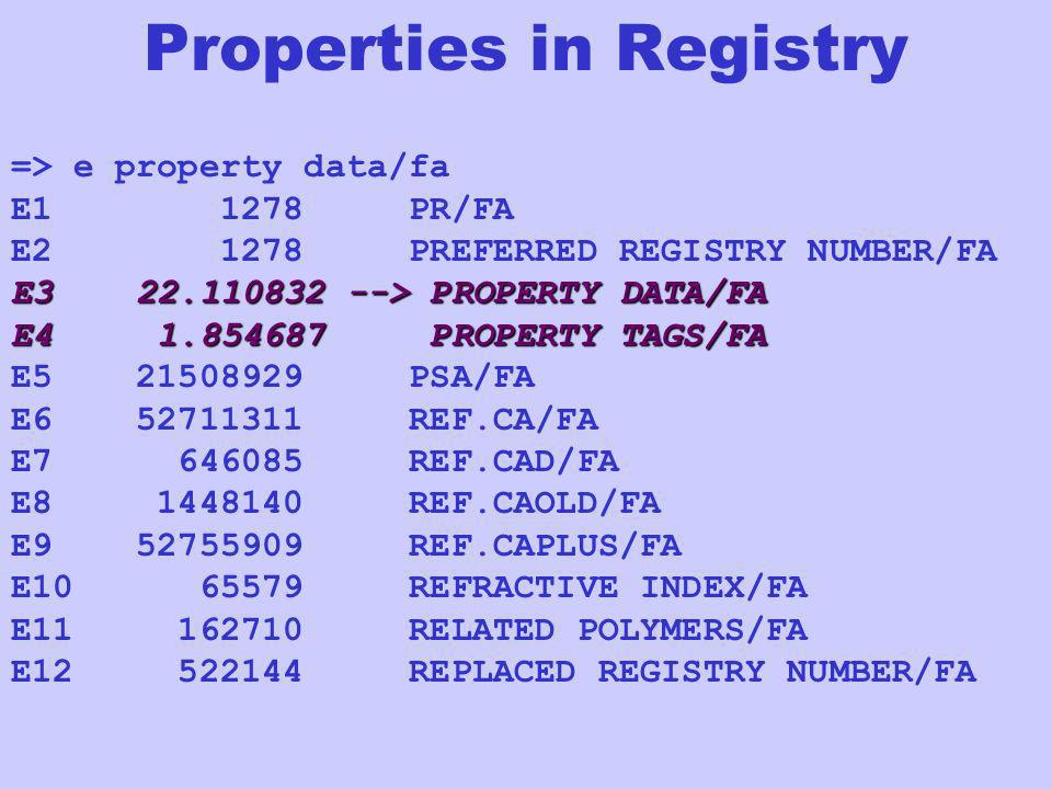 Properties in Registry => e property data/fa E1 1278 PR/FA E2 1278 PREFERRED REGISTRY NUMBER/FA E3 22.110832 --> PROPERTY DATA/FA E4 1.854687 PROPERTY