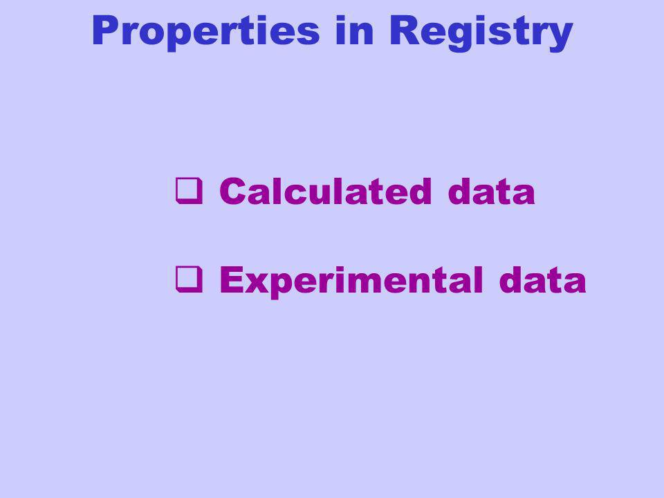 Calculated data Experimental data Properties in Registry