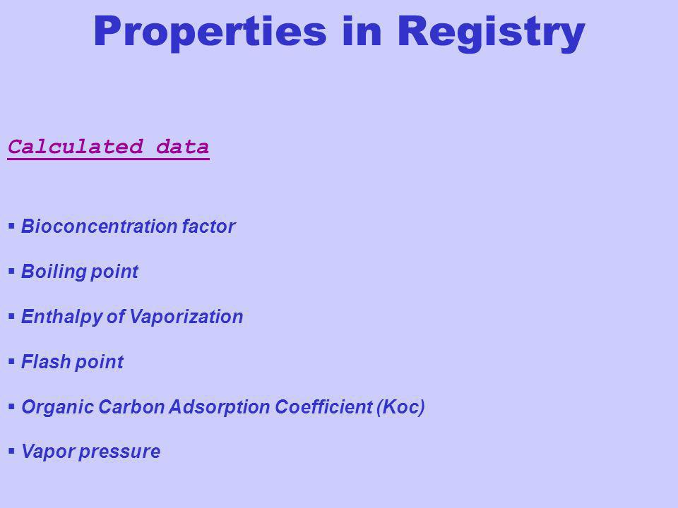 Calculated data Bioconcentration factor Boiling point Enthalpy of Vaporization Flash point Organic Carbon Adsorption Coefficient (Koc) Vapor pressure