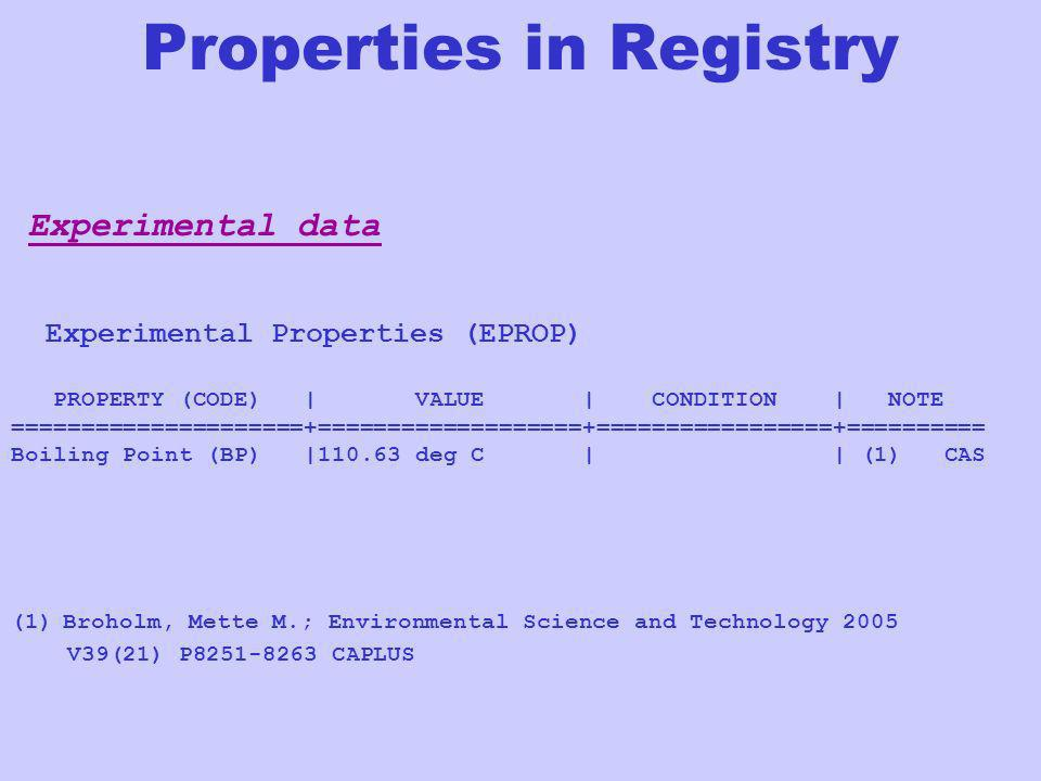 Experimental data Experimental Properties (EPROP) PROPERTY (CODE) | VALUE | CONDITION | NOTE =====================+===================+===============