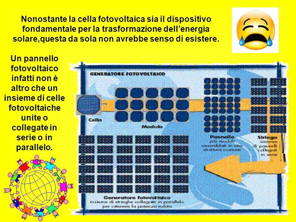 Nonostante la cella fotovoltaica sia il dispositivo fondamentale per la trasformazione dellenergia solare,questa da sola non avrebbe senso di esistere.