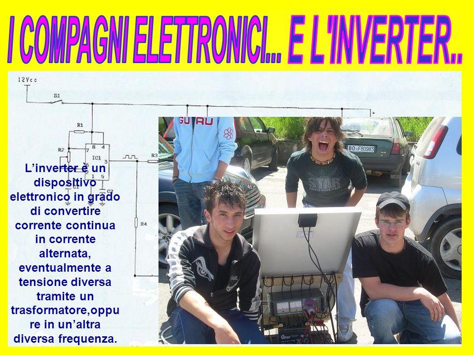 Linverter è un dispositivo elettronico in grado di convertire corrente continua in corrente alternata, eventualmente a tensione diversa tramite un trasformatore,oppu re in unaltra diversa frequenza.