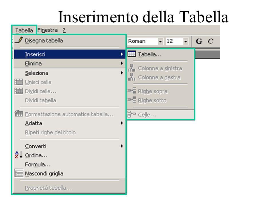 elena.spera@libero.it Inserimento della Tabella