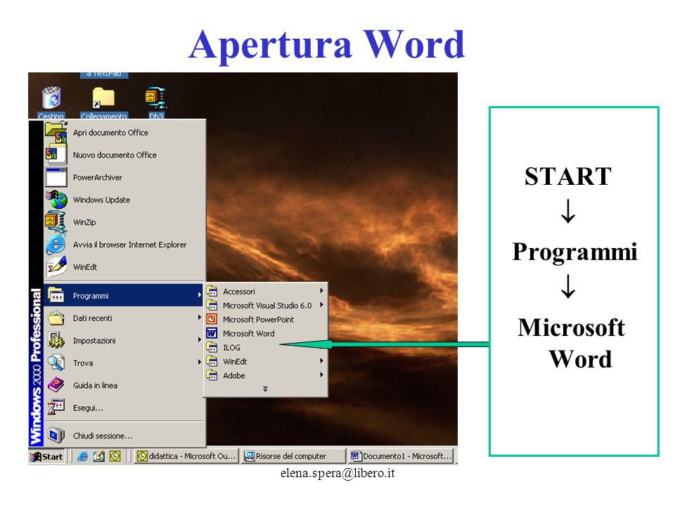 elena.spera@libero.it Apertura Word START Programmi Microsoft Word