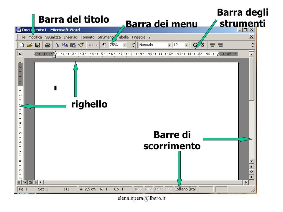 elena.spera@libero.it Barra del titolo Barra dei menu Barra degli strumenti righello Barre di scorrimento