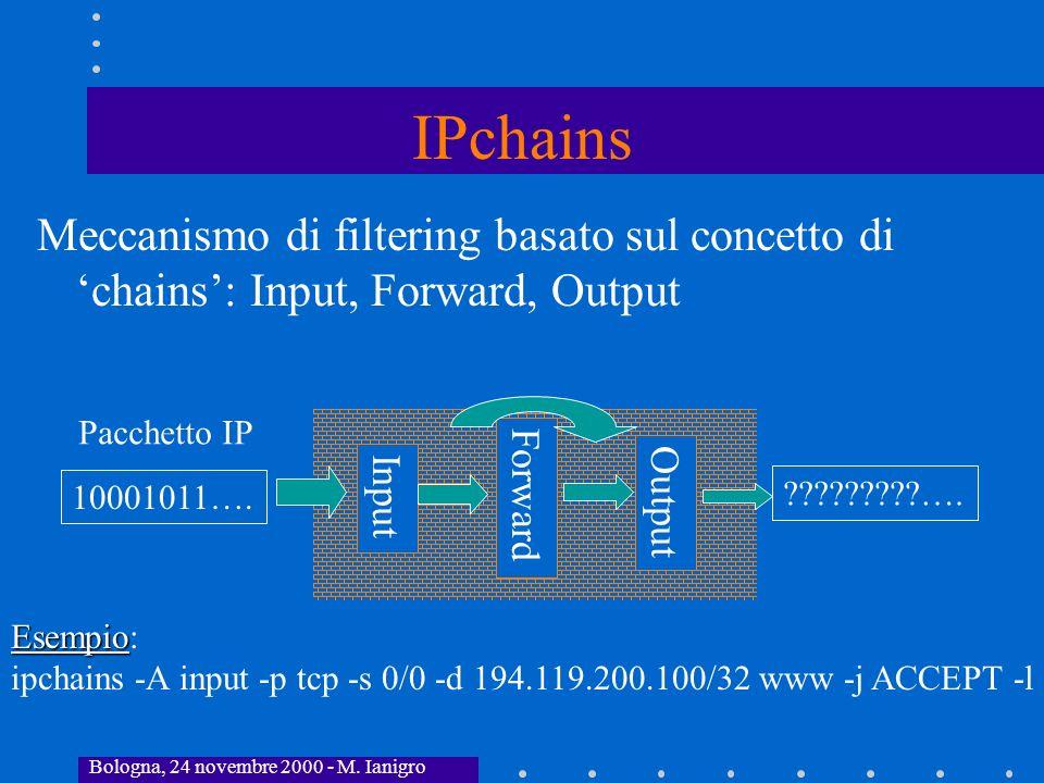 Bologna, 24 novembre 2000 - M. Ianigro IPchains Meccanismo di filtering basato sul concetto di chains: Input, Forward, Output Input 10001011…. Pacchet