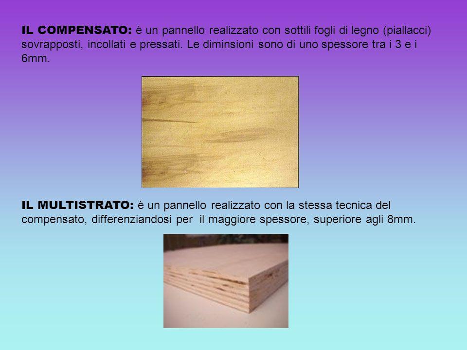 IL COMPENSATO: è un pannello realizzato con sottili fogli di legno (piallacci) sovrapposti, incollati e pressati. Le diminsioni sono di uno spessore t