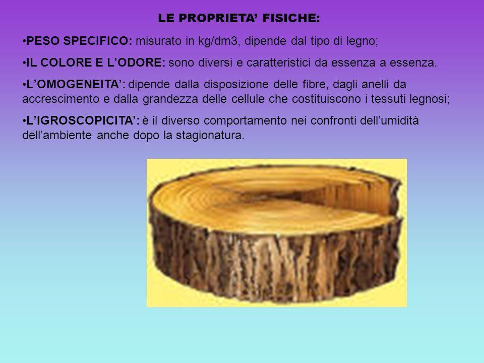 LE PROPRIETA FISICHE: PESO SPECIFICO: misurato in kg/dm3, dipende dal tipo di legno; IL COLORE E LODORE: sono diversi e caratteristici da essenza a es