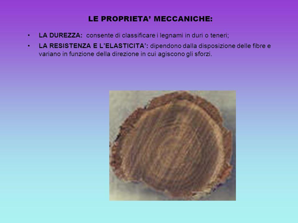 LE PROPRIETA MECCANICHE: LA DUREZZA: consente di classificare i legnami in duri o teneri; LA RESISTENZA E LELASTICITA: dipendono dalla disposizione de
