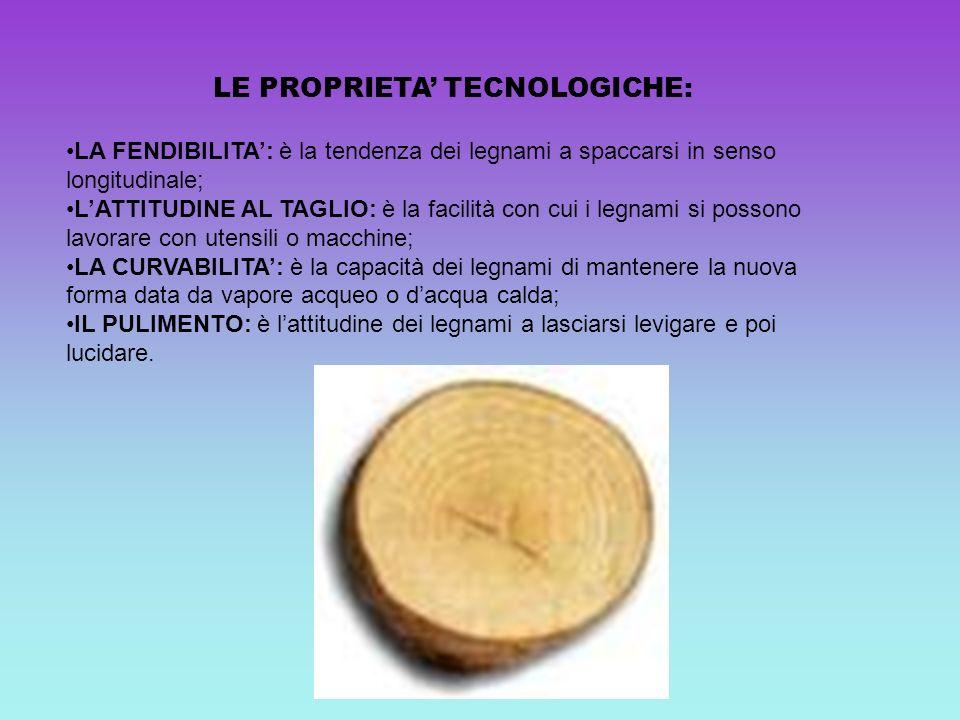 LE PROPRIETA TECNOLOGICHE: LA FENDIBILITA: è la tendenza dei legnami a spaccarsi in senso longitudinale; LATTITUDINE AL TAGLIO: è la facilità con cui
