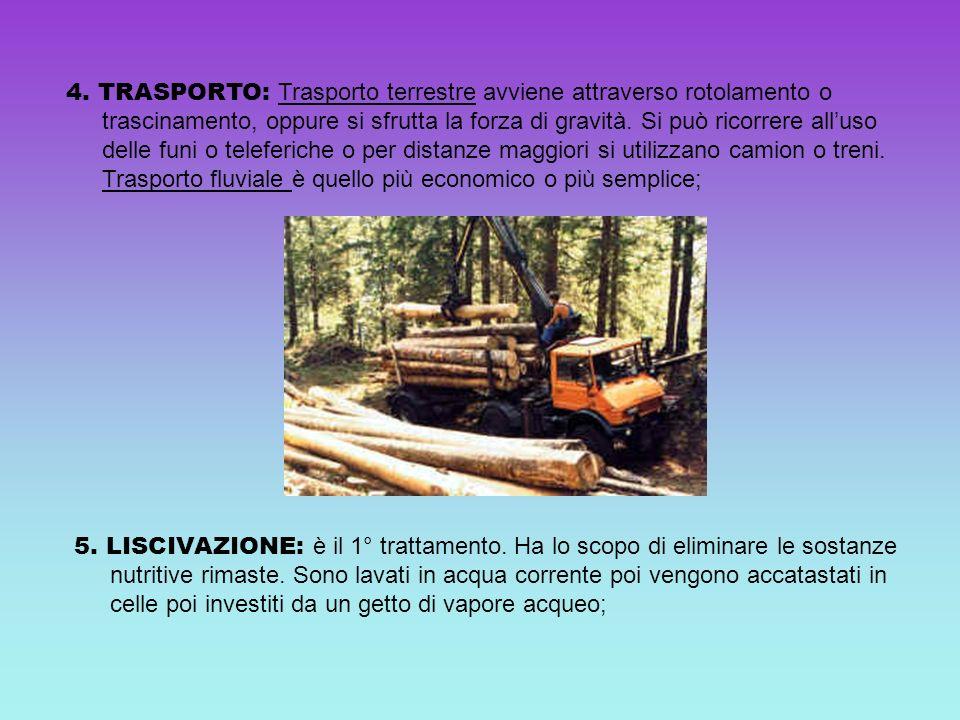 4. TRASPORTO: Trasporto terrestre avviene attraverso rotolamento o trascinamento, oppure si sfrutta la forza di gravità. Si può ricorrere alluso delle