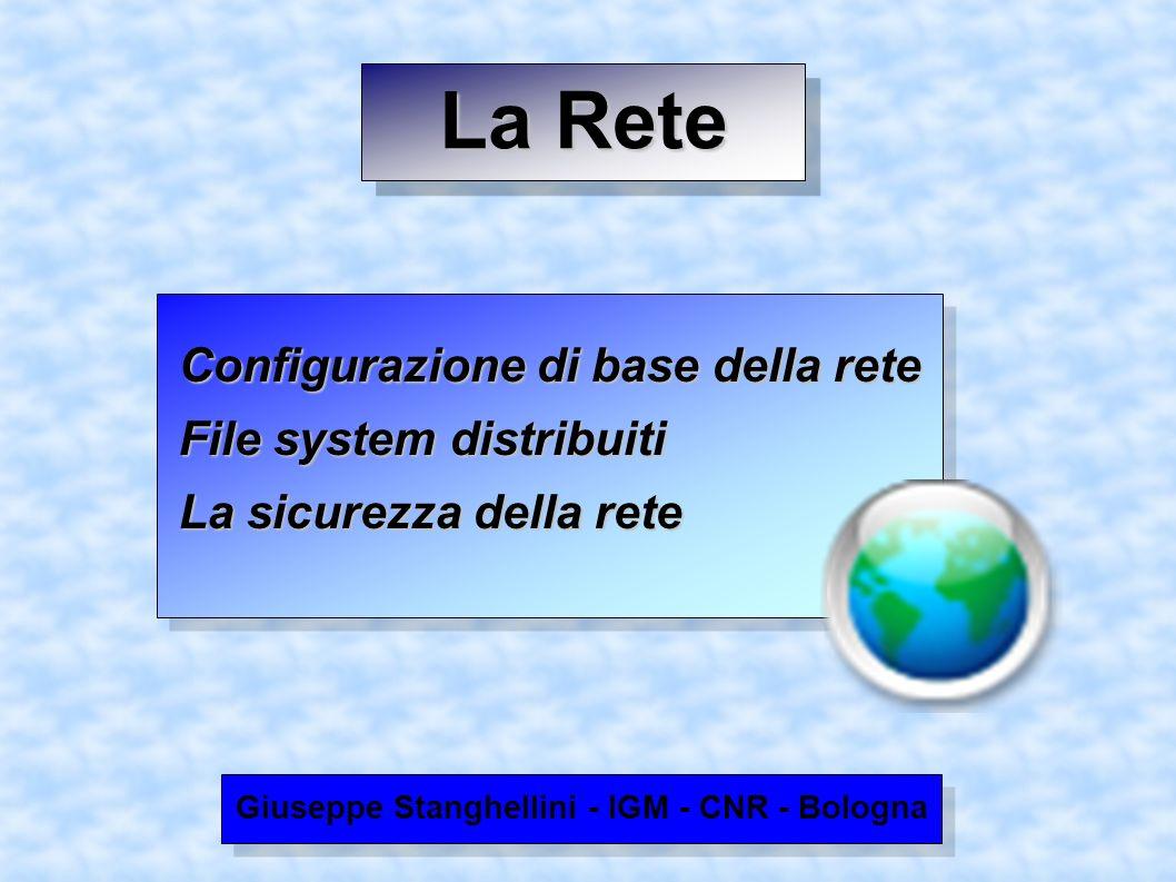 La Rete Configurazione di base della rete Configurazione di base della rete File system distribuiti File system distribuiti La sicurezza della rete La sicurezza della rete Giuseppe Stanghellini - IGM - CNR - Bologna