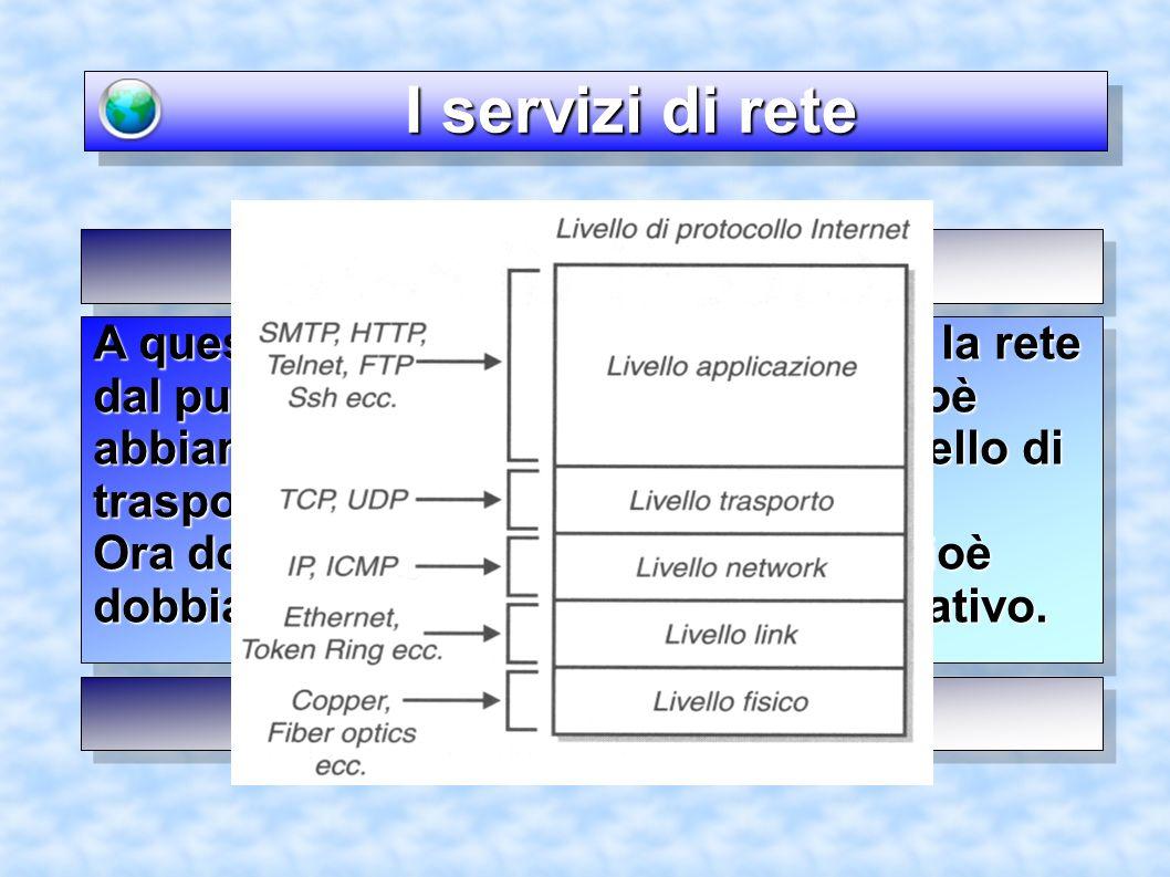 I servizi di rete I servizi di rete A questo punto, abbiamo configurato la rete dal punto di vista del basso livello, cioè abbiamo configurato la rete fino al livello di trasporto.