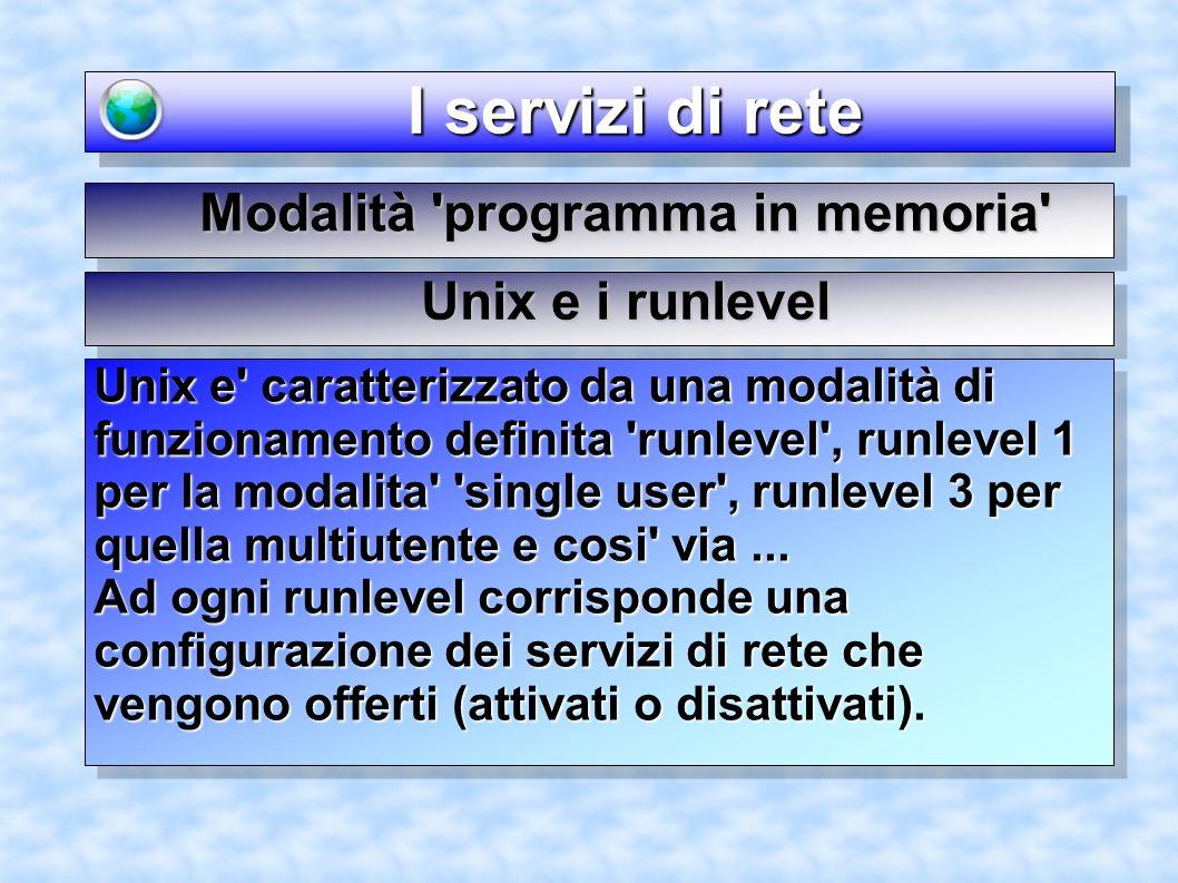 I servizi di rete I servizi di rete Modalità programma in memoria Unix e caratterizzato da una modalità di funzionamento definita runlevel , runlevel 1 per la modalita single user , runlevel 3 per quella multiutente e cosi via...
