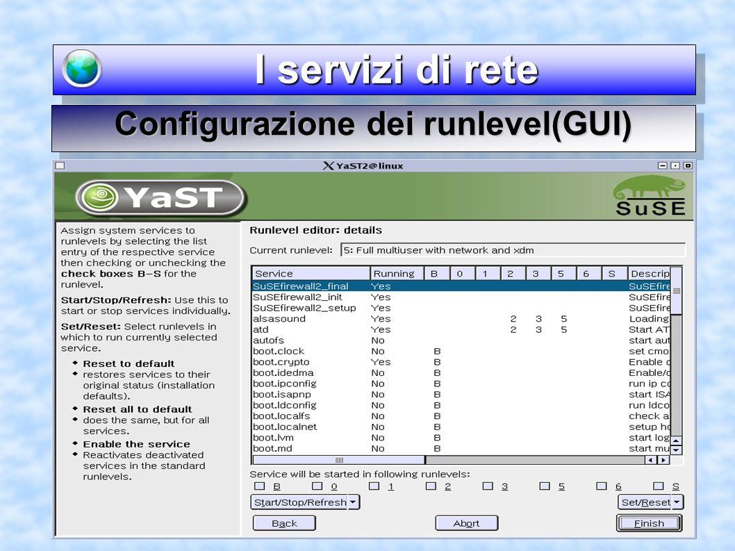 I servizi di rete I servizi di rete Configurazione dei runlevel(GUI)