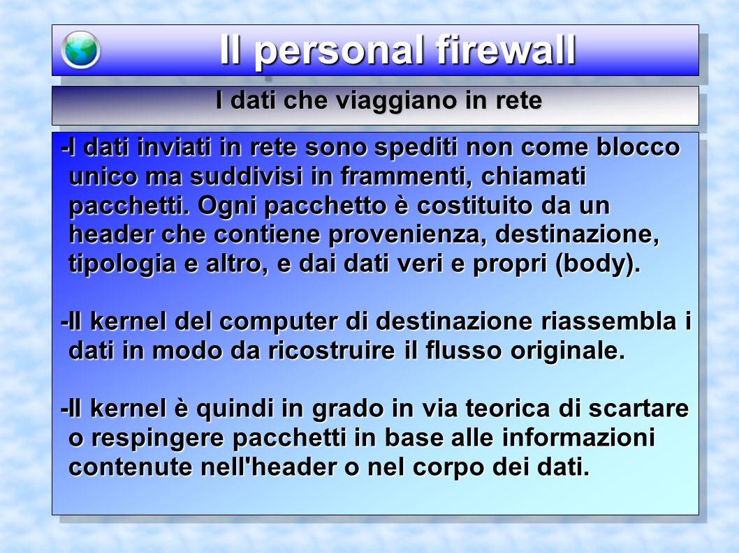 Il personal firewall Il personal firewall I dati che viaggiano in rete -I dati inviati in rete sono spediti non come blocco unico ma suddivisi in fram