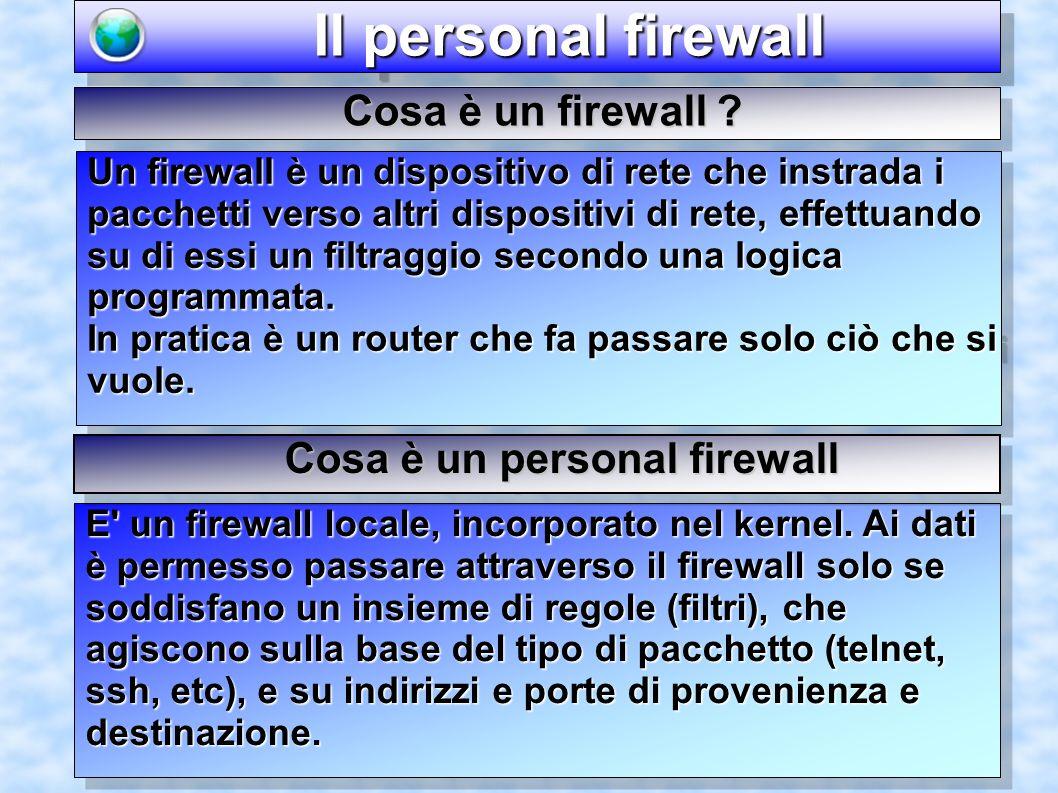 Il personal firewall Il personal firewall E un firewall locale, incorporato nel kernel.