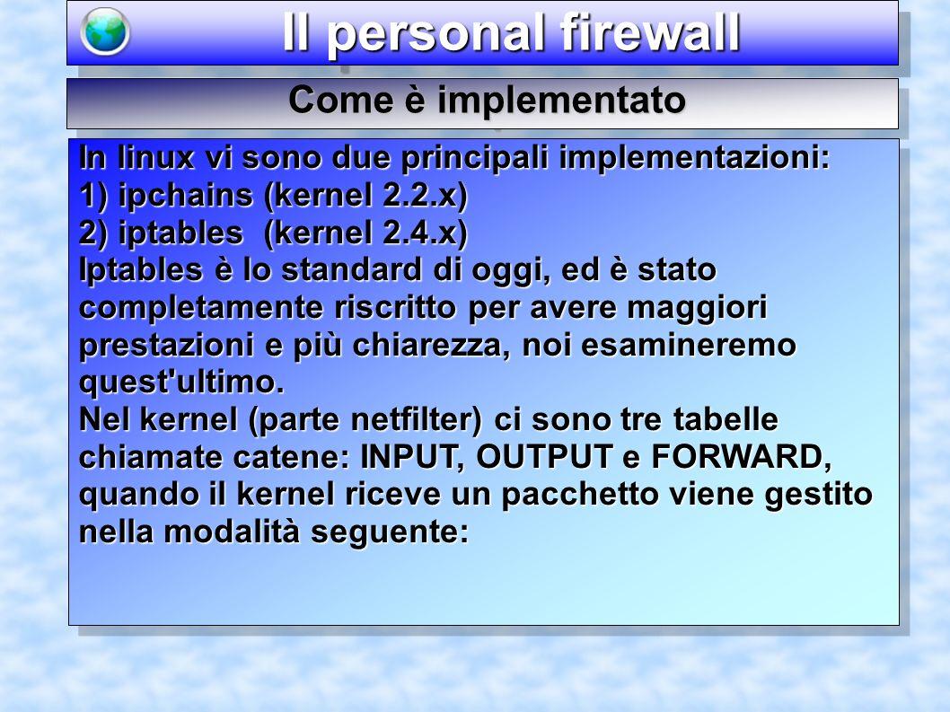 Il personal firewall Il personal firewall Come è implementato In linux vi sono due principali implementazioni: 1) ipchains (kernel 2.2.x) 2) iptables (kernel 2.4.x) Iptables è lo standard di oggi, ed è stato completamente riscritto per avere maggiori prestazioni e più chiarezza, noi esamineremo quest ultimo.