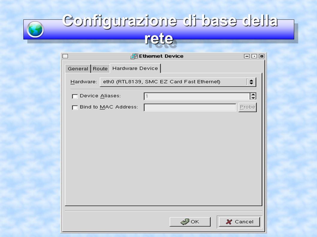 I servizi di rete I servizi di rete Configurazione di xinetd (come si fa) -Xinted è caratterizzato da un file di configurazione principale e da un file per ogni servizio che puo attivare ftp, telnet, etc.