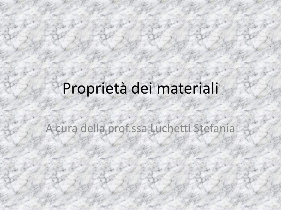 Proprietà dei materiali A cura della prof.ssa Luchetti Stefania