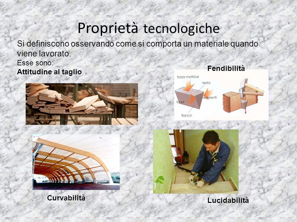 Proprietà tecnologiche Si definiscono osservando come si comporta un materiale quando viene lavorato. Esse sono: Attitudine al taglio Fendibilità Curv