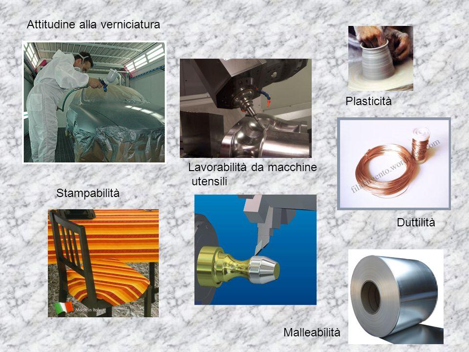 Lavorabilità da macchine utensili Plasticità Duttilità Malleabilità Stampabilità Attitudine alla verniciatura