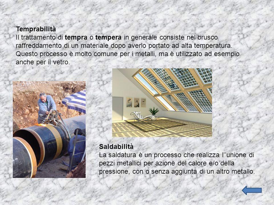 Temprabilità Il trattamento di tempra o tempera in generale consiste nel brusco raffreddamento di un materiale dopo averlo portato ad alta temperatura