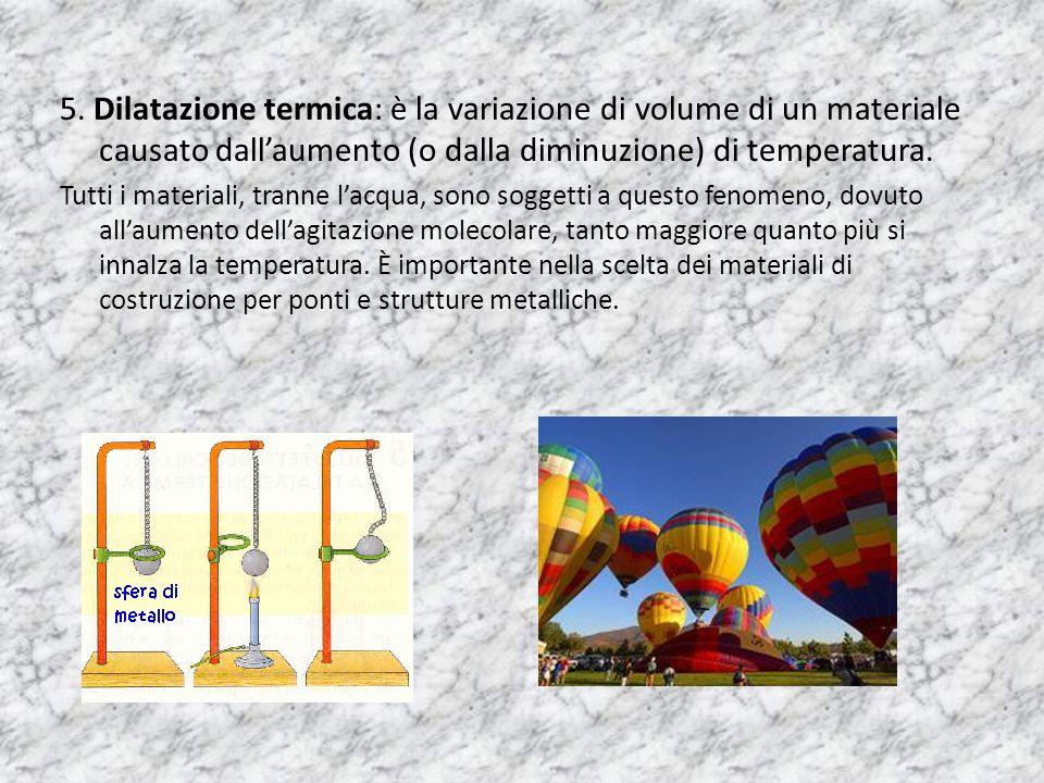 5. Dilatazione termica: è la variazione di volume di un materiale causato dallaumento (o dalla diminuzione) di temperatura. Tutti i materiali, tranne