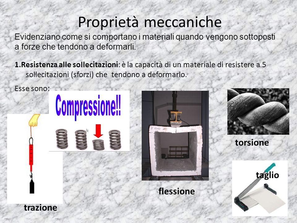Proprietà meccaniche 1.Resistenza alle sollecitazioni: è la capacità di un materiale di resistere a 5 sollecitazioni (sforzi) che tendono a deformarlo