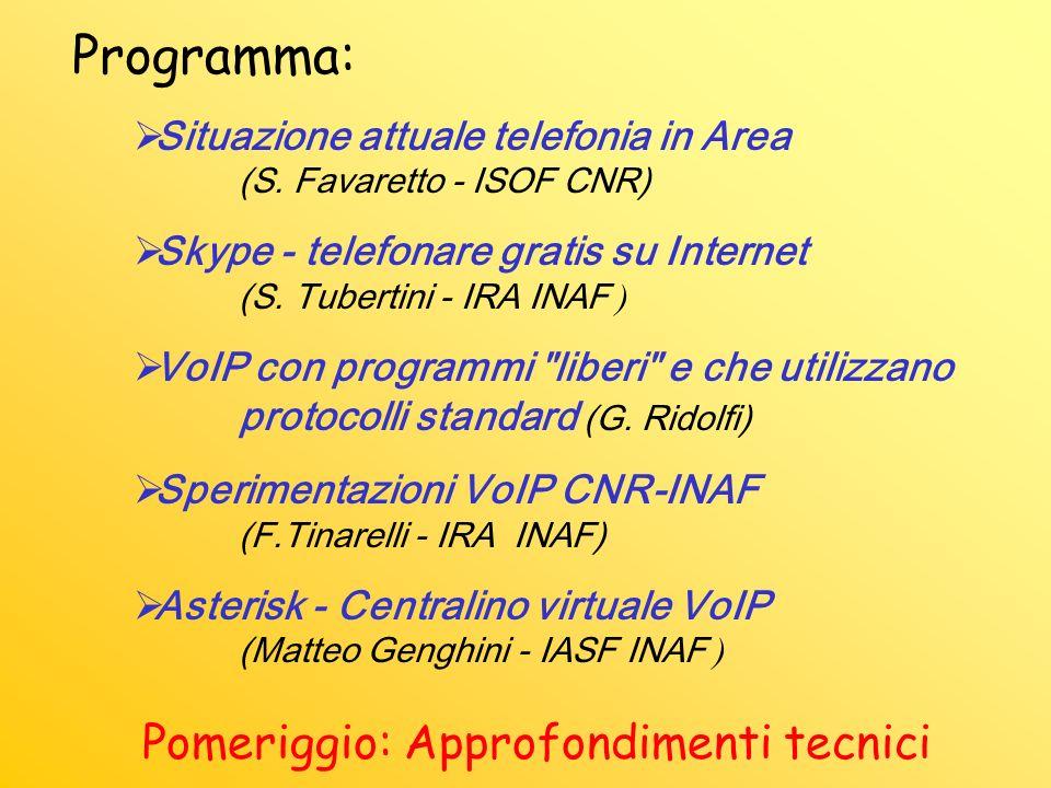 Programma: Situazione attuale telefonia in Area (S.