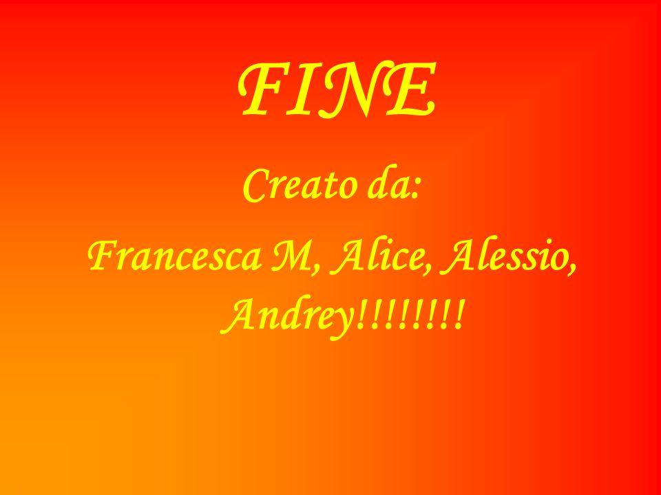 FINE Creato da: Francesca M, Alice, Alessio, Andrey!!!!!!!!