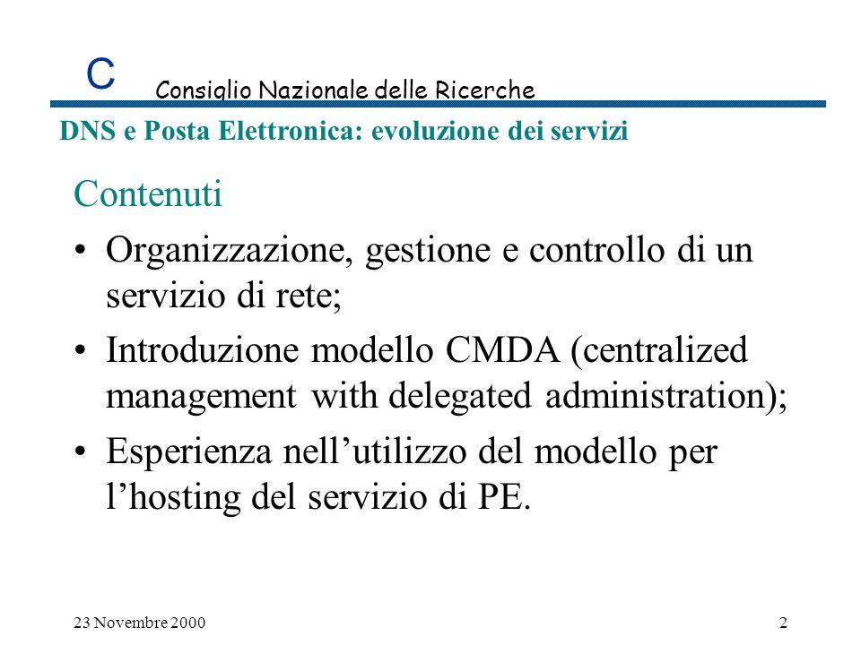 C Consiglio Nazionale delle Ricerche DNS e Posta Elettronica: evoluzione dei servizi 23 Novembre 200023 Numero medio di msg/mailbox