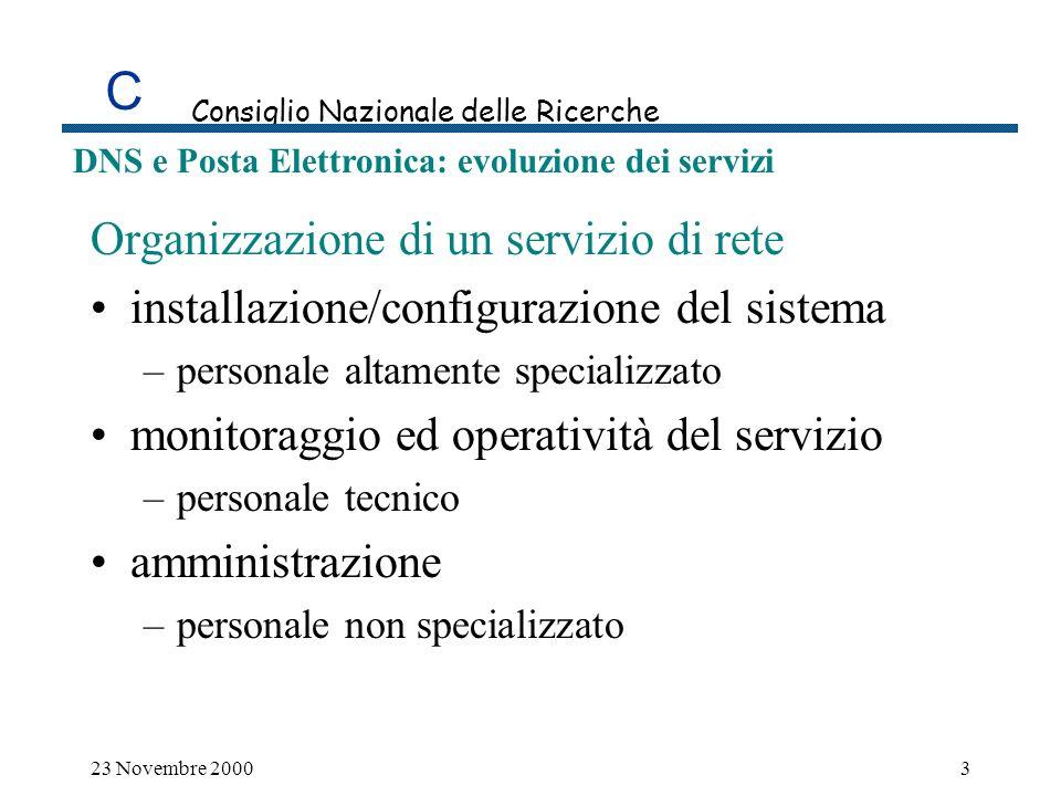 C Consiglio Nazionale delle Ricerche DNS e Posta Elettronica: evoluzione dei servizi Modello per lorganizzazione di un servizio di rete