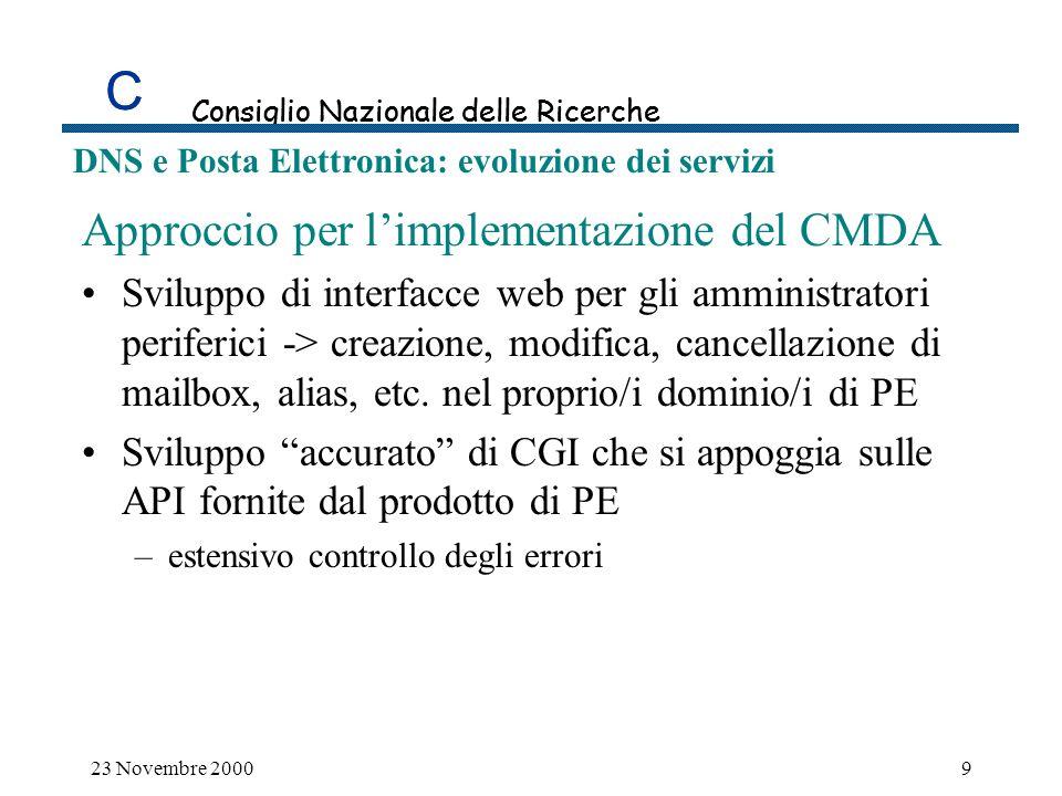 C DNS e Posta Elettronica: evoluzione dei servizi Le statistiche di utilizzo del servizio