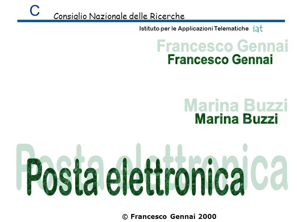 © Francesco Gennai 2000 Multipurpose Internet Mail Extensions MIME definisce due possibili algoritmi di trascodifica per il body (o body part) di un messaggio RFC822: base64 e quoted-printable Content-transfer-encoding: - base64- 7bit - quoted-printable- binary - 8bit- x-nomecodifica