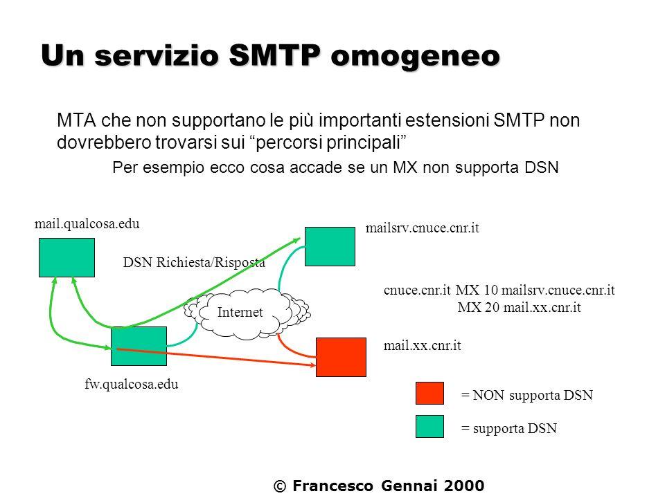 © Francesco Gennai 2000 Un servizio SMTP omogeneo MTA che non supportano le più importanti estensioni SMTP non dovrebbero trovarsi sui percorsi princi